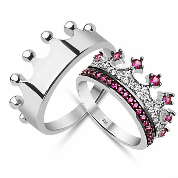 King Amp Queencrown Ringcrown Ring Setgold Crown Ring925k Silver Decorated With High Quality