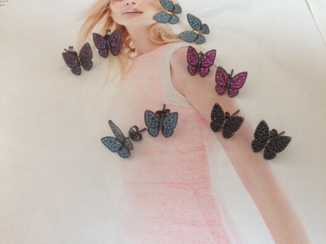 Butterfly, silver earrings, butterfly charm,