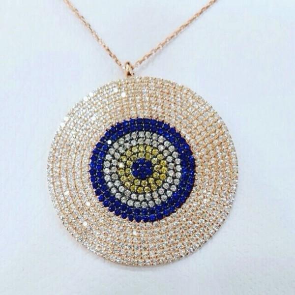 big disk necklace,disk necklace,evil eye disk ,evil eye, evileye, evil eye necklace, silver evil eye necklace,925k silver,necklace, silver