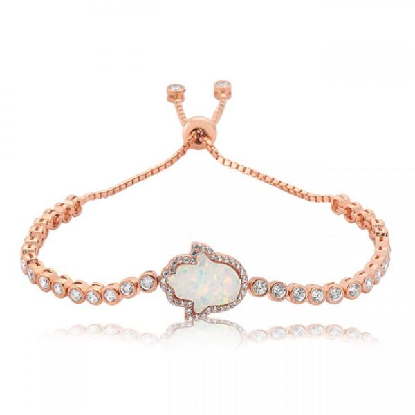 Opal Hamsa Hand Bracelet White