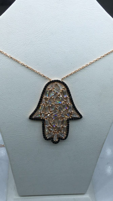 rose gold Hamsa necklace,hamsa jewelry,cz hamsa necklace,gold hamsa,silver hamsa,tuquoise hamsa,hamsa pandant,baguette hamsa