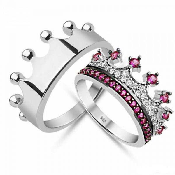 cz crown ring,king and queen rings,crown engagement rings,crown promise rings,crown rings for her,princess crown rings,silver crown ring set