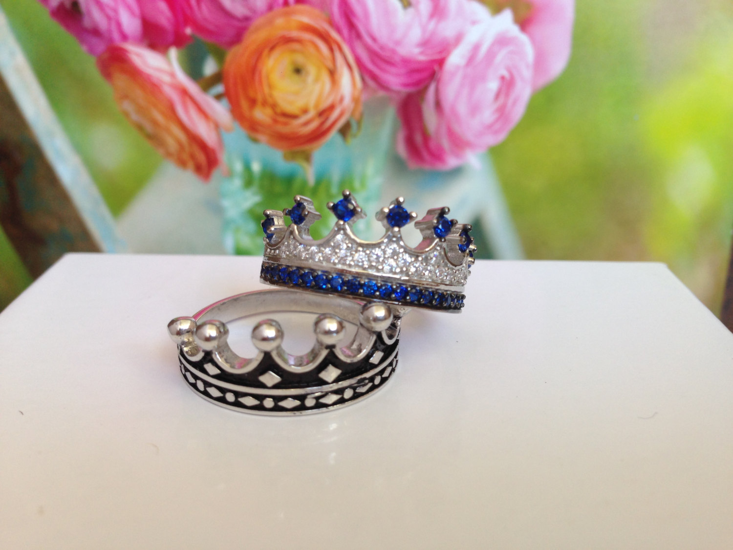King & Queen ring, crown ring set,gold crown ring,sterling silver crown ring,promise rings,crown rings for women