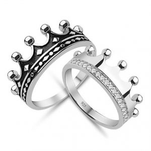 King & Queen,crow ring set, gold crown ring,gold crown ring set,925k silver decorated with high quality zircon