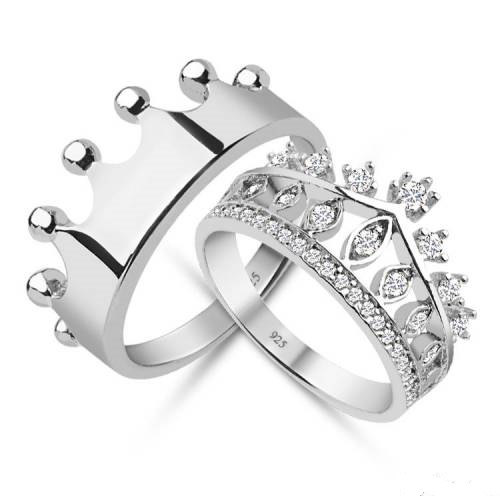 King & Queen,crown ring,crown ring set,gold crown ring,silver crown ring,925k silver decorated with high quality zircon